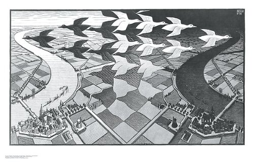 Day and Night M. C. Escher Fantasy Poster Print, Overall Size: 33.75x21.5, Image Size: 31.25x18 (Mc Escher Poster)
