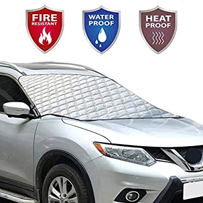 Car Windshield Cover - Frost, Ice, Snow, Water, Wind, Sun, Dust, Scratch and Heat Resistant. Fits Most Cars, Trucks, SUV's. All Weather Protection for Your Windshield and Your Windshield Wipers.