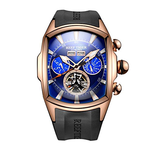 Reef Tiger Sport Watches for Men Rose Gold Tone Tourbillon Wrist Watches Rubber Strap RGA3069 (RGA3069-PLB)