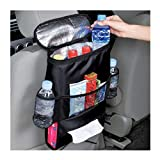AKIWOS Car Seat Back Organizer Durable Drinks Holder Storage Bag Trash Bag Organizer and Tissue Holder, Travel Accessories Black (11x8.6x3.9 in, Black)