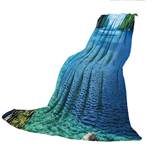 SCOCICI Comfortable Printing Blanket and Washing Machine Washable,Nature,Scenic View Sea Bay and Mountain Islands in Palawan Philippines Idyllic Image,Blue Green White,59.06