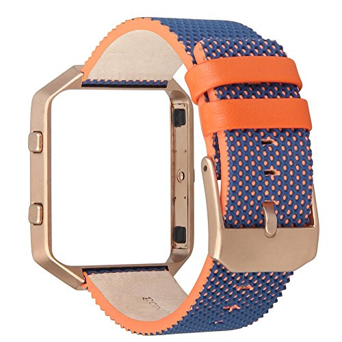 Nfl Wristbands Shop - V-Moro for Fitbit Blaze Bands, Accessories Genuine Leather Replacement Band for Fitbit Blaze Smart Watch (Orange/Blue&Metal Frame Rose Gold, Large)