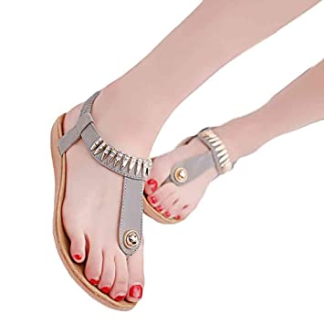 e8299f15c Image Unavailable. Image not available for. Color  Hot Sandals ! AMA(TM) Women  Summer Flat Bead Bohemia ...