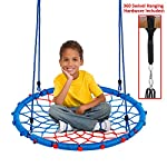 """Clevr 38"""" Round Outdoor Tree Net Swing, Kids Playard Toy Spider Web Tire Swing, with Detachable 360 Degree Spin Swivel Hanging Hardware & Adjustable 71"""" Height Rope, 600 lb Limit - Blue & Red"""