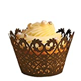 Paper Orchid Filigree Cupcake Wrapper Chocolate, Set of 12