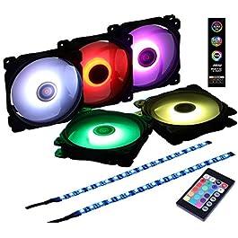 DS 120MM RGB Case Fan for Computer Cases, PC Case, CPU Coolers (2pcs 30CM LED Strip, 5pcs Axis LED Fans, F Series)
