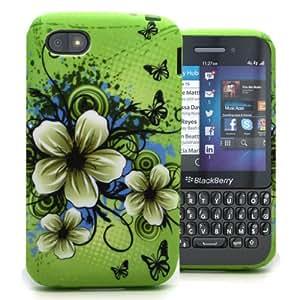 Accessory Master - Carcasa de silicona para BlackBerry Q5, diseño flores de jazmín, color verde y azul