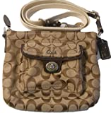 Coach Signature C Pocket Swingpack Crossbody Bag Style 45026 Khaki/ Mahogany