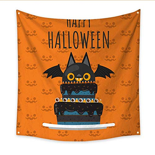 Wall Hanging Tapestry Happy Halloween festive Halloween Cake Vampire bat decorate on top of cake on halloween seamless pattern background Vector illustr Dorm Living Room Bedroom 47W x 47L Inch