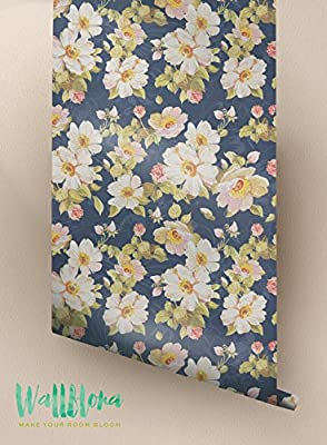 Flower Pattern Wallpaper - Removable Wallpaper - Floral Wallpaper - Flower Wall Sticker - Wall Decal - Self Adhesive Wallpaper