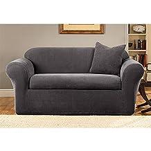 Sure Fit Stretch Metro 2-Piece Sofa Slipcover, Gray