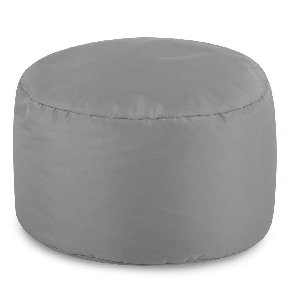 Bean Bag Bazaar Round Indoor Outdoor Footstool 38cm x 20cm Water Resistant Pouffe Light Grey