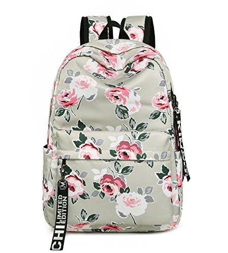 Leaper Fashion Floral Laptop Backpack Women Daypack Travel Bag Satchel Handbag (Floral-P)