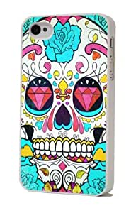 White Frame sugar skull tattoo diamond Designer iphone 4 4S Case/Back cover Metal and Hard case