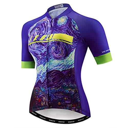 Cycling Jersey Women's Bike Jersey 2019 MTB Bicycle Shirt Team Racing Tops Purple L (Best Cycling Jerseys 2019)