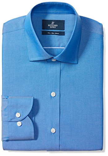 BUTTONED DOWN Men's Slim Fit Spread-Collar Solid Non-Iron Dress Shirt (No Pocket), French Blue, 15.5