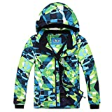 PHIBEE Big Boy's Waterproof Breathable Snowboard Ski Jacket (Print, 16)