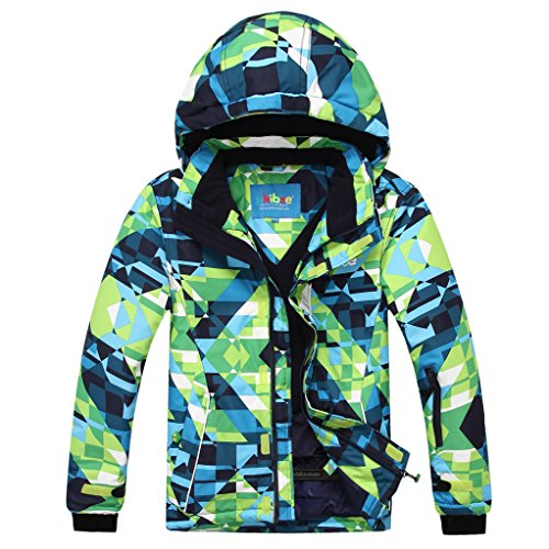 Phibee Big Boy's Waterproof Breathable Snowboard Ski Jacket (Print, 8) (Kids Boys Ski Jacket)