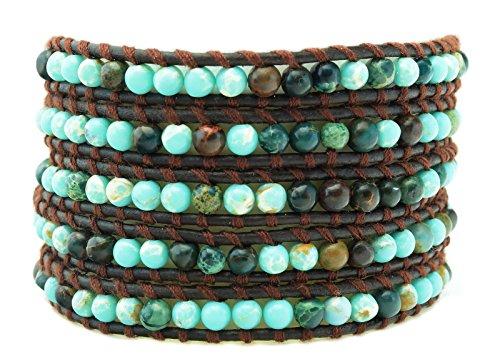 Beaded Natural Turquoise Genuine Brown Leather Multi 5 Wrap BOHO Bracelet