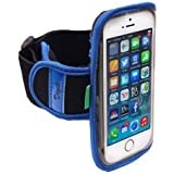 High Quality Neoprene Running Armband for Moto DROID Maxx 2, Turbo 2 w/ Sweat Proof Gym Exercise Jogging Sports Strap and Reflective Safety Strips (use with or without case) - Blue