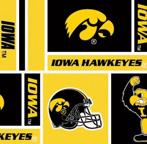 Hawkeyes Iowa Fabric (Cotton University of Iowa Hawkeyes College Team Sports Cotton Fabric Print By the Yard (sia097s))