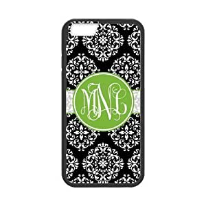 Black Vintage European Pattern Damask Print Style & Green Circle Personalized Custom Best Hard Plastic Case for iPhone6 ( Only for 4.7 inches)