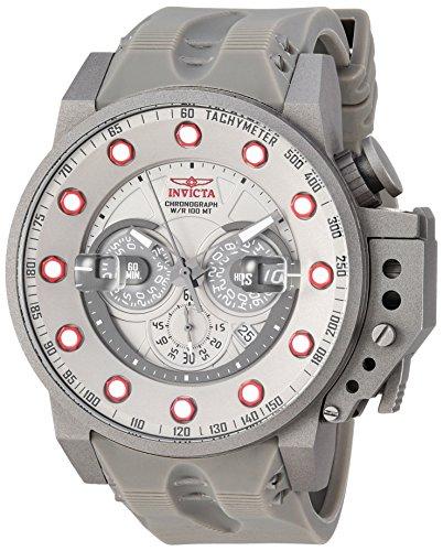 Invicta Men's I- I-Force Stainless Steel Quartz Watch with Silicone Strap, Silver, 24 (Model: 25278) (Invicta Titanium)