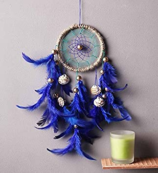 Rooh Dream Catcher Rpyal Blue With Shells Handmade Hangings For Home Decor Wall