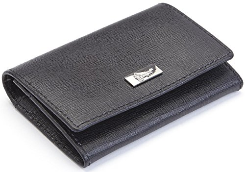 Royce Leather RFID Blocking Business Card Case Wallet in Saffiano Leather, Black