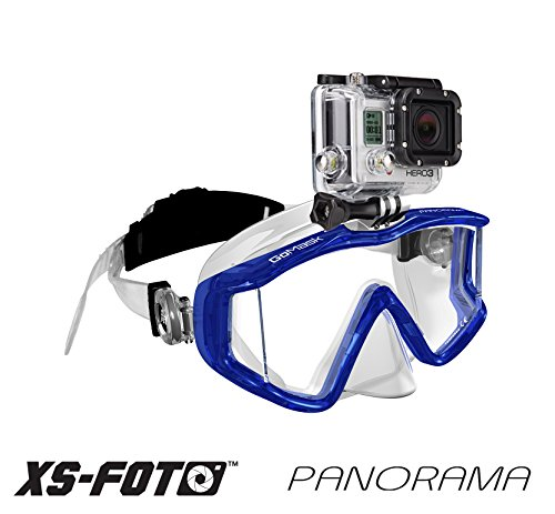 PANORAMA - 3 WINDOW - Extra Qwik Comfort Strap - Built-in Stainless Steel Camera Mount - Diving Mask for GoPro, GoMask by XS Foto (Blue) (Panorama Mask)