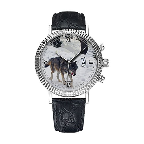 Analog Quartz Wrist Watch - Calendar Date Thin Classic Casual Watch with black Leather Band Large Face Watches-Personality pattern 329.Wolf - Animal Silver Watch Leather Black