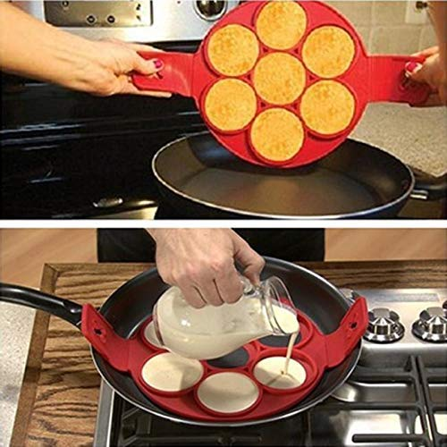 DIVISTAR Nuovo 2017 Flippin Fantastic Antiaderente Pancake Maker Egg Ring Maker Perfect Pancakes 7 Egg Tools /& Snake Cake Mold