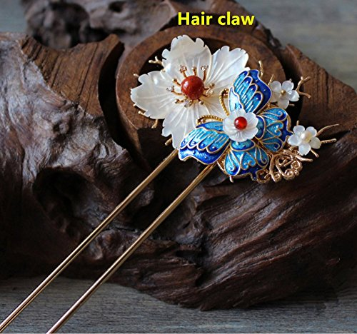 Handmade Hairpin Tuck Comb Decor Hair Sticks Pins Shell Nanjiang Carnelian Fit for Hanfu Kimono Crepe Party Accessories (Hair -