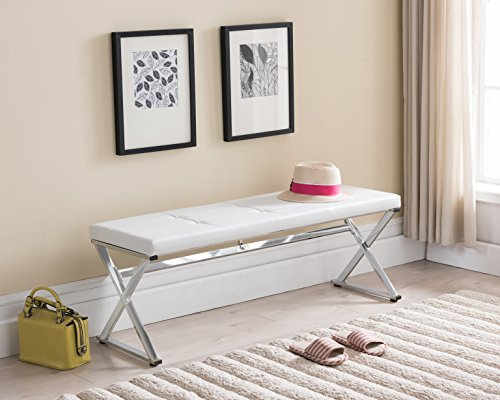 Bench Chrome Leather (White Tufted Bonded Leather / Chrome Finish Frame X-Design Entryway Bedroom Bench)
