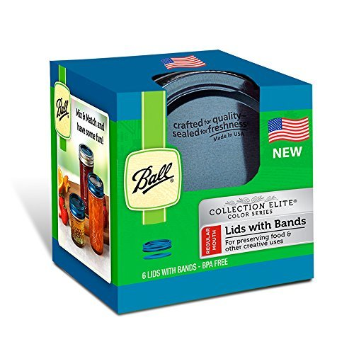 Ball Mason Regular Mouth Bands With Lids 6 Pack of Blue (Bundle of 5)