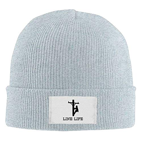 Demin09 Mens Womens Knit Beanie Hats Line Life Lineman Warm Winter Skull Caps