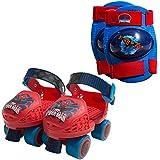 Ultimate Spider-Man Kids Rollerskate, Junior Size, 6-12 with Knee Pads