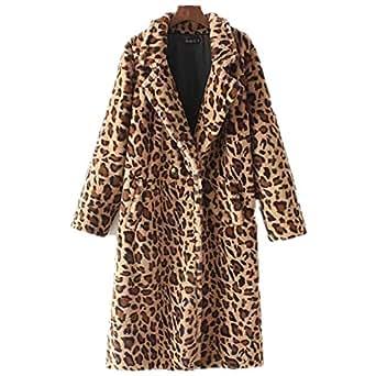 Womens Leopard Faux Fur Coat Fashion Long Sleeve Overcoat