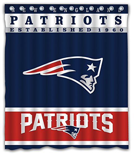 Sonaby Custom New England Patriots Waterproof Fabric Shower Curtain for Bathroom Decoration (60x72 Inches) -