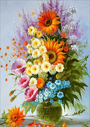 Flower Vase Diamond Painting Kits - PigBoss 5D Full Round Drill Diamond Painting by Numbers - Diamond Embroidery Cross Stitch Art Decor Gift for Adults (11.8 x 15.7 inches)