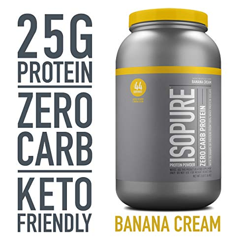 Isopure Zero Carb, Keto Friendly Protein Powder, 100% Whey Protein Isolate, Flavor: Banana Cream, 3 Pounds (Packaging May Vary)