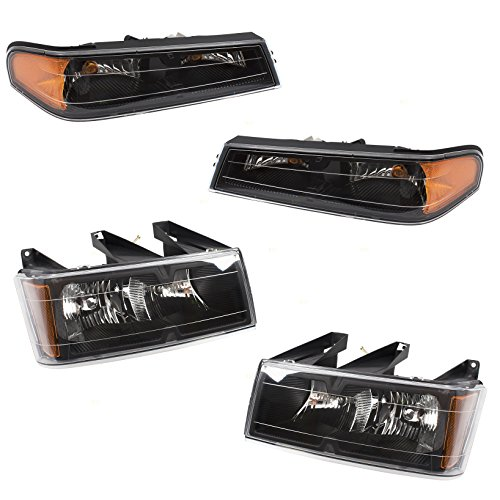 4 Piece Set of Headlights & Park Signal Front Marker Lamps w/Black Bezels Replacement for Chevrolet GMC Isuzu Pickup Truck 19328954