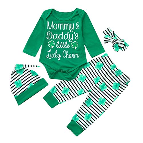 (Newborn Baby St. Patrick's Day Lucky Green Shamrock Romper +Striped Pants+Hat+ Head Band 4Pcs Cotton Clothing Set (0-3Months, Green 2) )