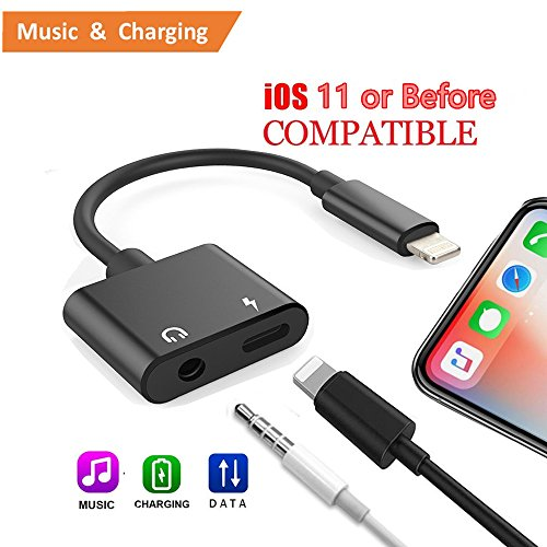 Price comparison product image iPhone 7/ 8/ X Adapter and Splitter, ANLOER 2 in 1 Aux Headphone Jack Audio & Charge Cable Adapter, 3.5mm Lightning Adapter for iPhone7/7Plus/8/8Plus/X, Support iOS 11 and Before (Black)