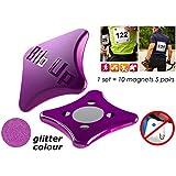 MAGNETI portanumero running, ciclismo, raceBIBup (VIOLA GLITTER)