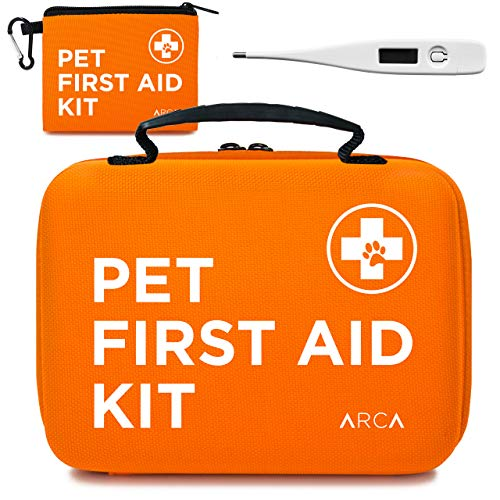 ARCA PET Cat & Dog First Aid Kit Home Office Travel Car Emergency Kit Pet Travel Kit - 100 Pieces with Thermometer and Bonus Mini First Aid Kit Pouch & Emergency Collar [Hard Case for Protection]
