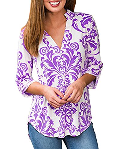 Women Blouses and Tops Cuffed Sleeve V Neck Casual Tee Shirts Purple Small