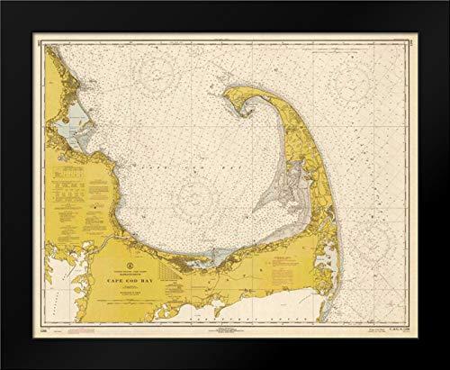 - Nautical Chart - Cape Cod Bay ca. 1970 - Sepia Tinted 24x20 Framed Art Print by NOAA Historical Map-Chart