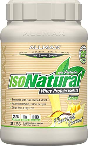 ALLMAX Nutrition Isonatural 100% Ultra-Pure Whey Protein Isolate, Pineapple Coconut, 2 lbs