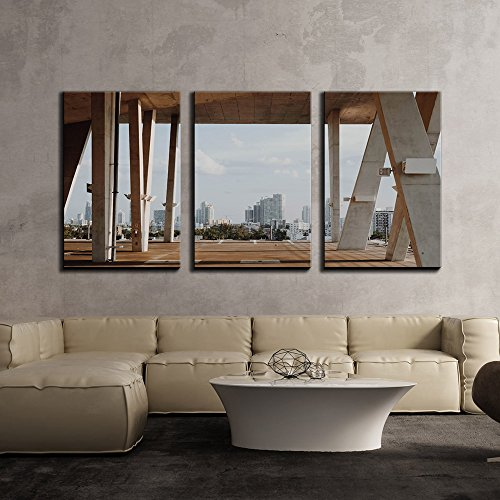 """wall26 - 3 Piece Canvas Wall Art - Contemporary Architecture Construction - Modern Home Decor Stretched and Framed Ready to Hang - 24""""x36""""x3 Panels"""